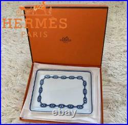 HERMES Chaine d'Aancre Plate blue square dish porcelain tableware