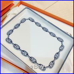 HERMES Chaine d'Ancre Rectangle Plate White/Blue In Box New