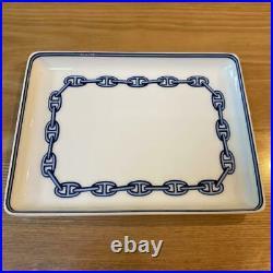 HERMES Chene Dunkle Chain Plate / Blue White / Ashtray Porcelain Paris / 16×12cm