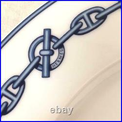 HERMES Porcelain Dinner Plate Chaine D'Ancre Blue Tableware Ornament New 11 in