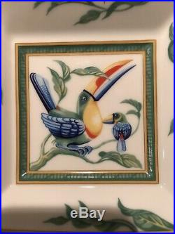 HERMES Porcelain Toucans Birds Small 5 Square Plate Tray Dish White Green Blue