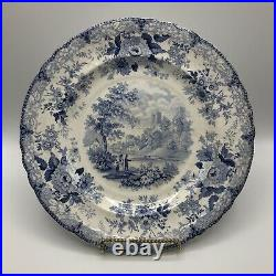 HISTORIC Belle Vue Pottery Hull Blue & White Transferware Plate Durham Cathedral