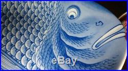 HUGE 16.5 (42 cm) Japanese Imari Fish Platter Plate Signed Blue White