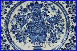 HUGE Delft blue white pottery Birds floral decor ceramic plate marked rare