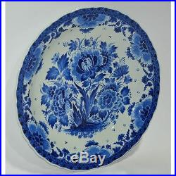 Hand Painted Blue & White Dutch Royal Delft Porceleyne Fles Plate Charger