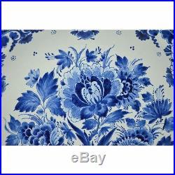 Hand Painted Blue & White Floral Dutch Royal Delft Porceleyne Fles Plate Charger