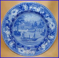 Henshall & Co Pearlware Blue & White Dam & Waterworks Philadelphia Plate C1820