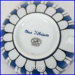 Hermes Bleus D'Ailleurs Tea Cup & Saucer Blue White Ceramic Coffee Plate Set