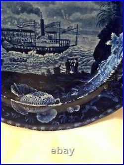 Historical Antique Blue & White Staffordshire Union Line Plate 1825 HTF