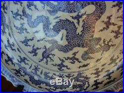 Huge Oriental Chinese Blue & White Porcelain Plate / Charger 138cm Dragons