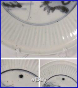 IP16 RARE Early Imari Japanese Shinogi blue & white porcelain plate withbox