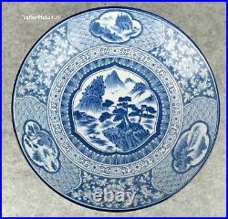 Important SIGNED Antique Japanese Blue White Scene Porcelain Imari CHARGER Plate