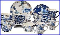 Indigold 16-Piece Dinnerware Set, Blue, White, Dinner, Salad Plate, Mugs, Bowls