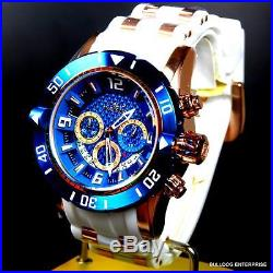 Invicta Pro Diver III 50mm Chronograph 18kt Rose Gold Plate Blue White Watch New