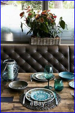 Italian Dinner Plates Porcelain Stoneware Blue White 18 Piece Dinnerware Set
