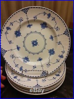 JOHNSON BROS Blue Denmark 6 pcs. 10 1/4 blue/white floral plates EXCELLENT COND