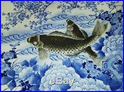 Japan Porzellan Arita Fukagawa Wandteller japanese wall plate Blue & White Koi
