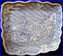 Japan Traditional Map Blue & White Porcelain Arita Imari plate Fuku kosometsuke