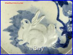 Japanese Arita Hirado Style Blue & White Porcelain Plate Charger Moon Hares