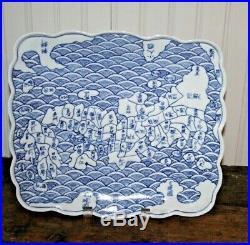 Japanese Arita Ware Blue & White Porcelain Dish Plate Map of Japan Square