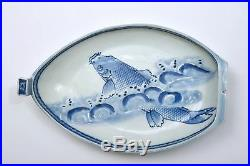 Japanese Blue & White Imari Arita Porcelain Koi Fish Boat Plate Tray Platter