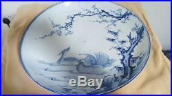 Japanese Charger xtra large 19th century hand decorated blue white ducks ceramic