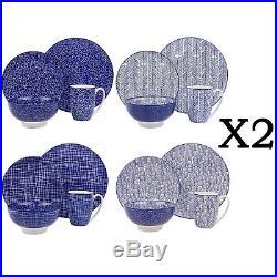 Japanese Dinner Set 32Pc Porcelain Crockery Plate Dessert Bowl Mug Blue White
