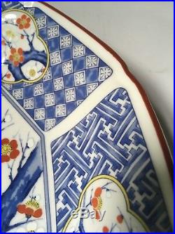 Japanese Hand Painted Serving Porcelain Plate Bird Asian blue white Nest Signed