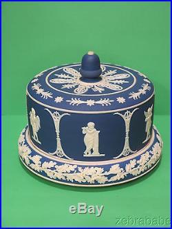 Jasperware Blue & White Cake Plate w Cover Cherub Putti