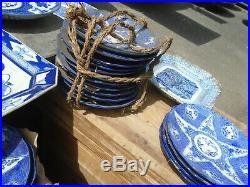 Job Lot 32 Pieces Antique Japanese Meiji Era Blue White Plates Charger Servers