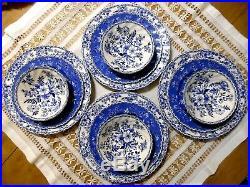 Johnson Brothers Devon Cottage 12pc Blue & White Dinner & Salad Plates & Bowls