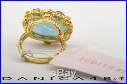 Judith Ripka Sterling Silver Gold Plate Blue Chalcedony White Topaz Ring 7