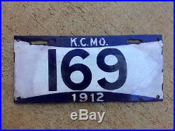 Kansas City Missouri 1912 porcelain license plate 169 municipal white blue