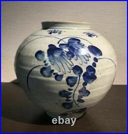 Korean Joseon Dynasty White and Blue Jar Vessel / H 24.5cm