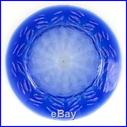 L. C. T. Tiffany Favrile Pastel Fern Art Glass Plate 8.5 c1910 Signed Blue White