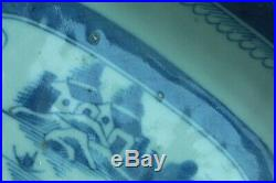Large 19th Century Antique Chinese Square Blue & White Plate Landscape Plate