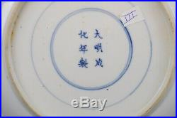 Large 26.3cm / 10.6 inch Antique Chinese Blue & White Plate, Palace scene Marked