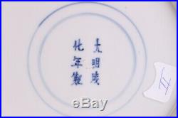 Large 26cm / 10.4 inch Antique Chinese Blue & White Plate, Palace scene Marked