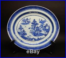 Large Antique Chinese Canton Blue and white platter 19th century 18 inches
