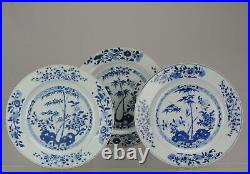 Large Antique Chinese Porcelain 18th C Kangxi Period Blue White Dinner P