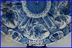 Large Antique Delft Tin Glaze Blue & White Wall Charger Plate