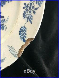 Large Blue & White Antique Tin Glazed Plate / Platter / Charger