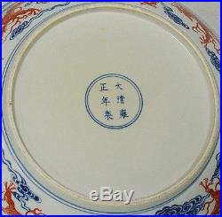 Large Chinese Blue and White Porcelain Plate With Mark M2565