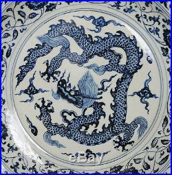 Large Chinese Blue and White Porcelain Plate With Mark M2772