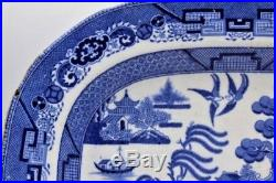 Large Chinese Export Blue & White Meat Platter / Serving Plate 13.5