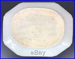 Large Chinese Export Blue & White & Porcelain Octagon Plate 19th Century