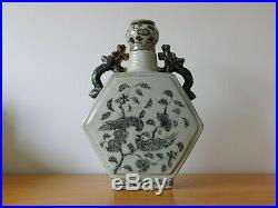Large Hexagonal Chinese Blue & White IN Hongwu Ming Style Porcelain Flask