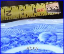 Large Japanese Arita Blue and White Meiji Period Porcelain Charger 16 Inches
