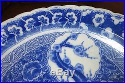 Large Japanese Sometsuke Blue White Decorated Porcelain Charger 19th Century 16