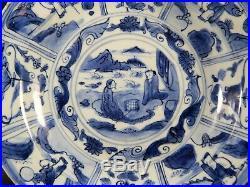 Large Rare Chinese Blue White Kraak Figural Saucer Dish Ming Wanli 1571 1619